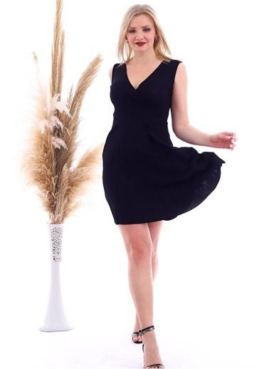Cottonmood 20070781 Örme Krep Eteği Pliseli Kruvaze Yaka Kolsuz Elbise Vizon Yilan Siyah